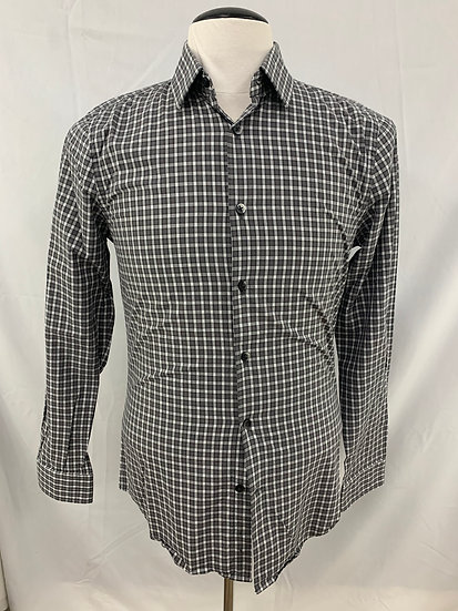 EXPRESS Extra Slim Fit sz S 14-14/1/2 Gray White Black checkered Long Sleeve But