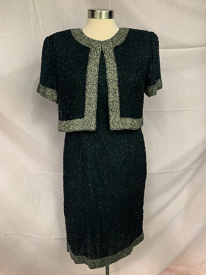 Women's Stenay size PM Vintage Silk Black Dress Jacket 1-Piece Embellished Silve