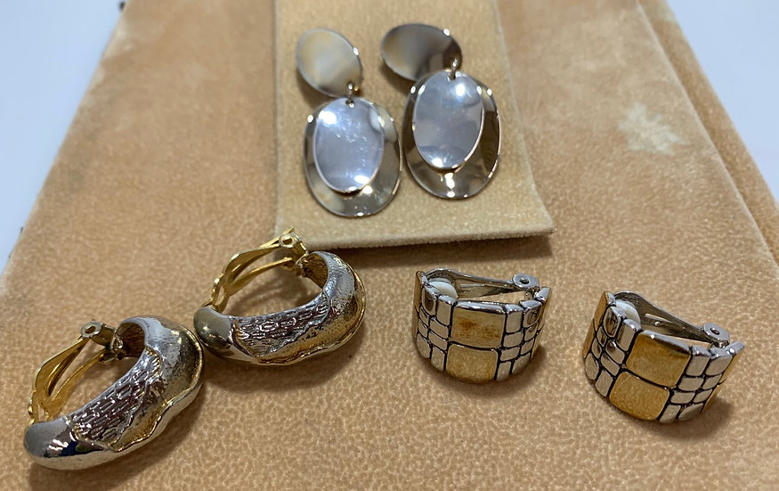 Vintage Fashion Earrings Gold/Silver Tone Lot of 3