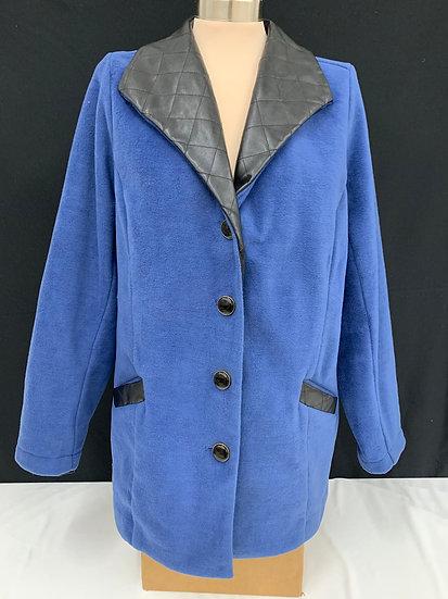 Bob Mackie Womens Womens Blue Black Wearable Art Button Up Coat sz XL