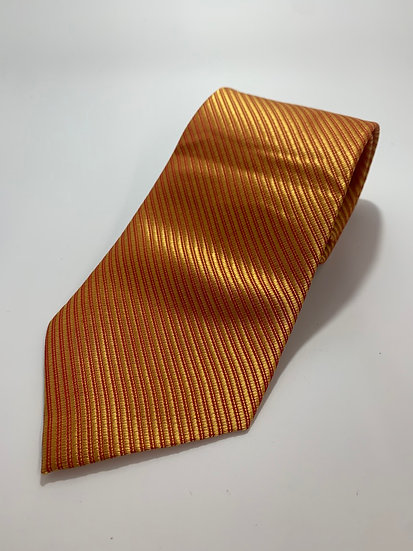 "Kailong Brand Orange Stripe 100% Silk Tie 57"""