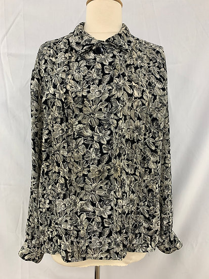 ANNE KLEIN For new aspects size 16 Black Gray Button Down Pleated Shirt Top