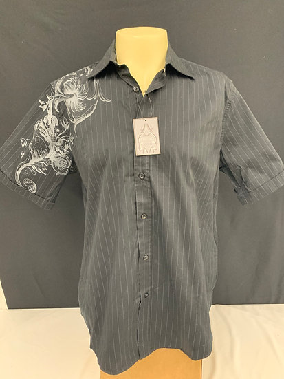 NWT BRUNO NEW YORK Men's black/gray pin stripe Short Sleeve Shirt sz L