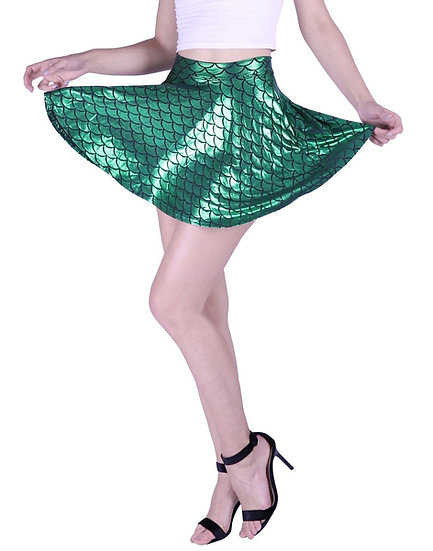 HDE Womens size M Shiny Emerald Short Mermaid Fish Scale Print Mini Flared Skate