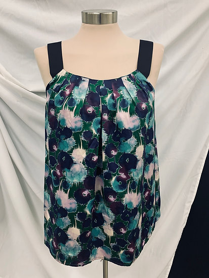 ANN TAYLOR LOFT Purple  black green blue pink floral print sleeveless pullover b