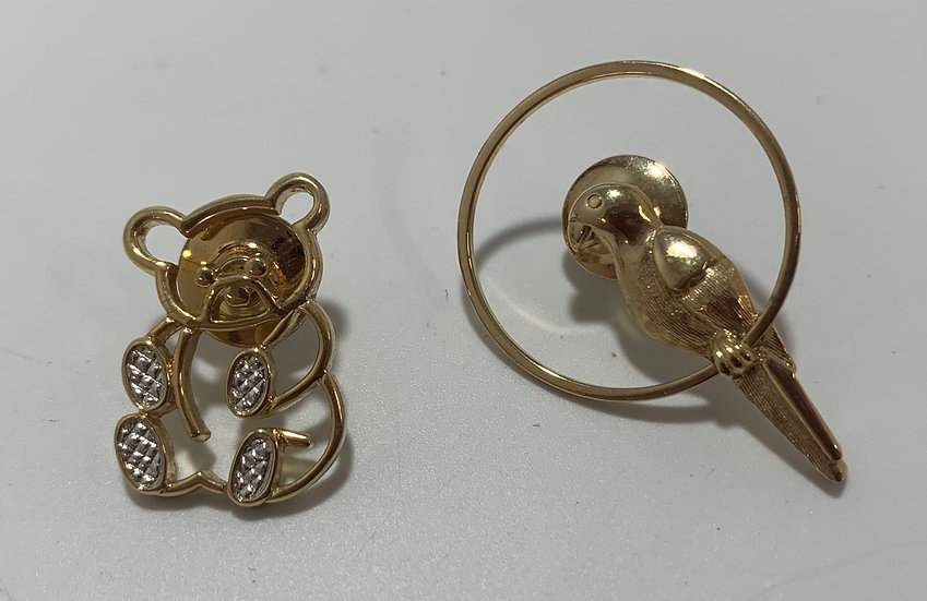 Avon Vintage Bear & Parrot Lapel Pins