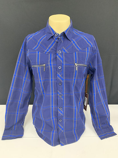 NWT Jnco Men's Crown Brand Button Front Navy Blue Long Sleeve Shirt Mens Size XL