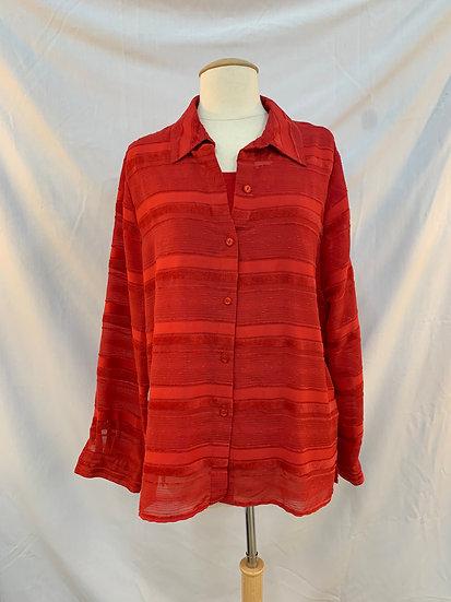 Alfred Dunner Women's Size 10  Red Tank Top Under Button Down Long Sleeve Shirt