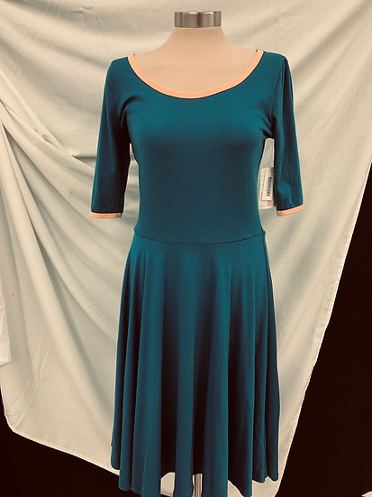 NWT Lularoe Womens A-line Dress Nicole Ringer Solid Teal Coral Neck Size M