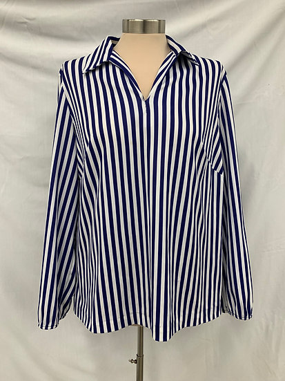 Blue and White Homeade long sleeve V neck pullover blouse top