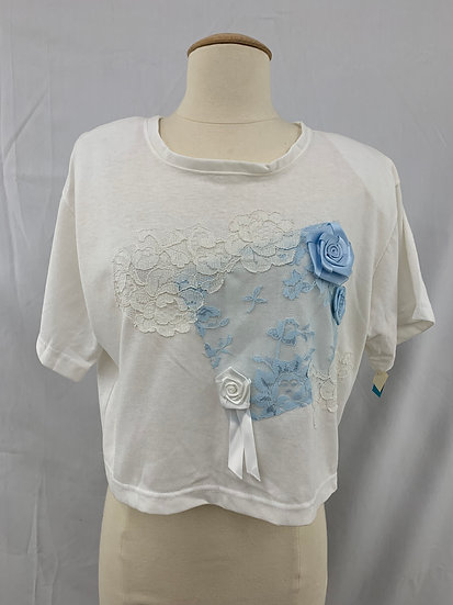 CRISTINA Women's size m White Blue Lace Pullover  Short Sleeve Shirt Blouse