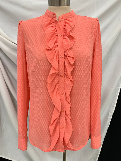 Worthington Salmon long sleeve button down colarless textured ruffled Shirt sz M