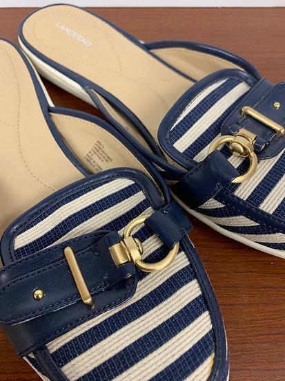 Lands End FEMME Blue White Stripe Slip On Shoes Slides Mules Flats Fabri