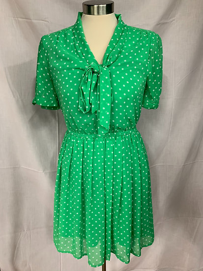 Forever 21 Women's size S Polka Dot Lime Green White Poka Dot Dress Short Sleeve