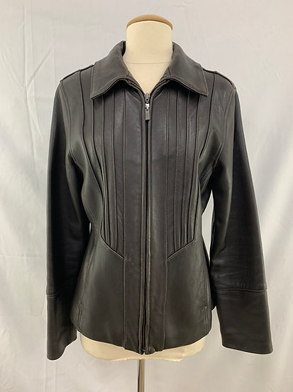 Avanti Size L Brown Genuine Leather Lined Zip Up Jacket Coat Front Pockets