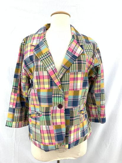 Women's Pink Yellow Blue White Black Plaid Jacket