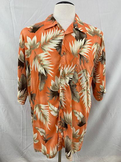 Scandia Woods Mens size XLG Short Sleeve Rayon Orange Floral Hawaiian Shirt