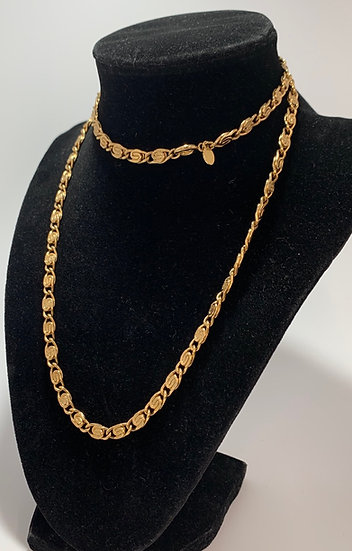 """Vintage Avon Gold Tone Curled Flat Chain Necklace 29"""""""