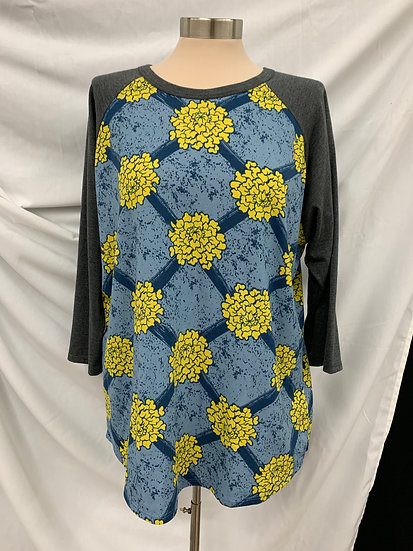 LuLaRoe Womens Long Sleeve Shirt 2XL Gray Sleeves yellow blue