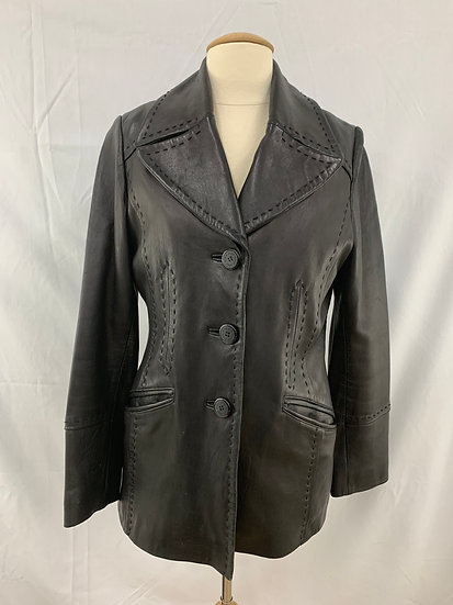ANNE KLEIN size S Black Leather Jacket Coat with Detachable Lining