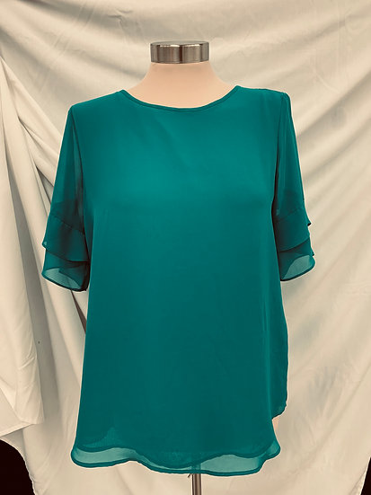 Van Husen ruffle sleeve high low pull over Turquoise blouse sz S/P