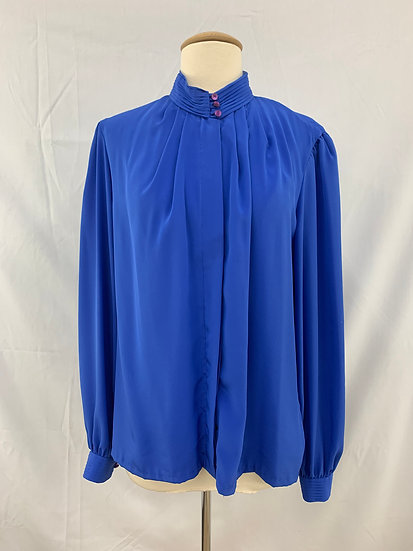 Gailord Women's size 14 Long Sleeve Button Down Blue Dress Blouse Top