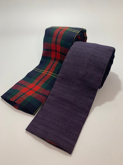 """Vintage Rooster Brand Ties 2 Square End Plaid & Navy Blue 55"""""""