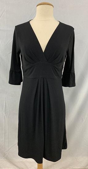 NWT ANN TAYLOR LOFT size 4 Black V-neck Bell Sleeve Mid-length polyester DRESS