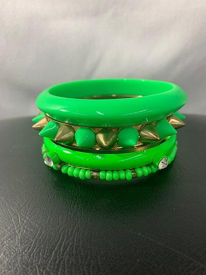 Set of 4 Green Vintage Bangles