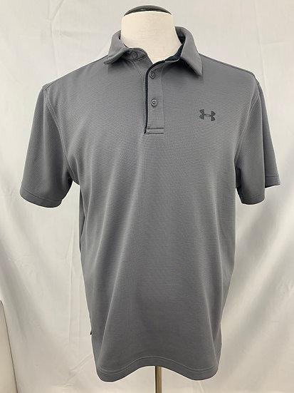 UNDER ARMOUR HeatGear Loose Mens L Short Sleeve Polo Shirt Gray