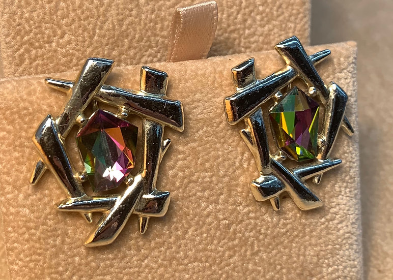 Vintage Faux Diamond Abstract Clip On Earrings