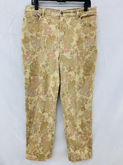 "GLORIA VANDERBILT ""AMANDA"" Jeans Missy Size 12 Floral Tan Stretch"