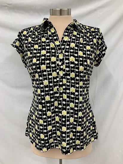 ALFANI Petite Women's sz P/M Cap Sleeve Black Yellow & White Deep Neck Short Sle