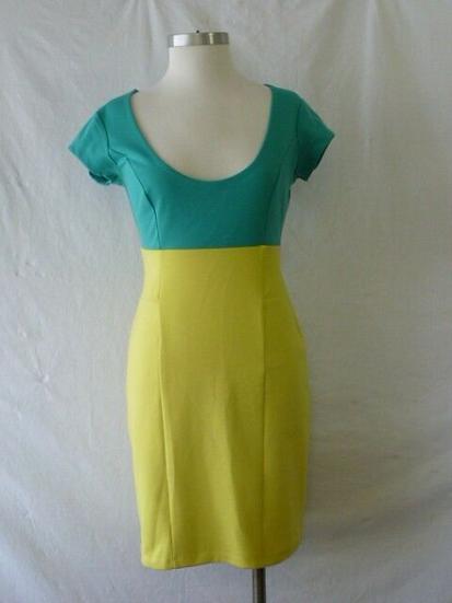 NWT KARDASHIAN Kollection Turquoise and Lemon Color Block size XS