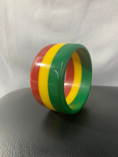 Red Yellow Green Large Vintage Bangle
