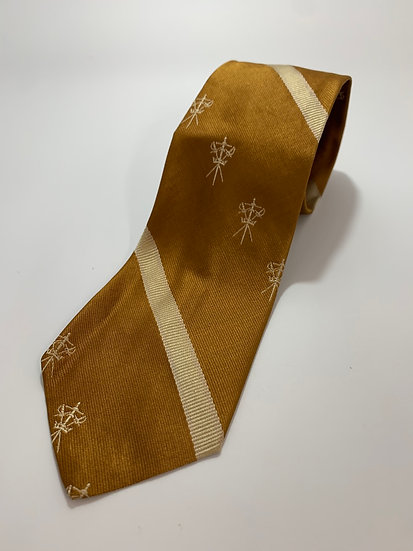 Vintage Damon Mustard Yellow*Swords Pattern All Silk Tie 54""