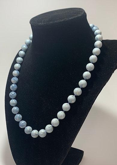 "Vintage Light Blue Swirl Bead Plastic Bead Necklace 19"""