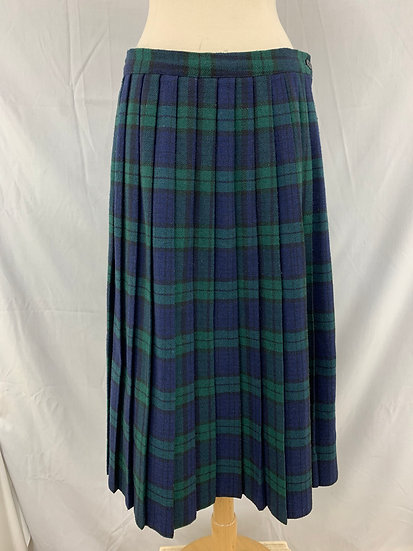 Royce Ltd New York Vintage Blue Green Black Plaid Pleated Skirt