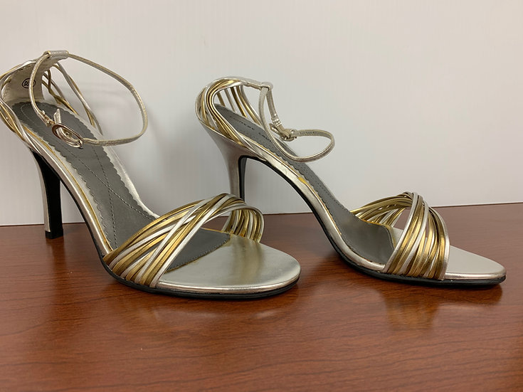 NEW Chinese Laundry Silver and Gold Strappy Open Toe Stiletto Heels size