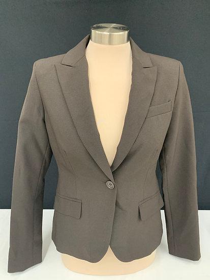 New York And Company Stretch Womens Blazer Jacket Brown Button Closure SZ 4