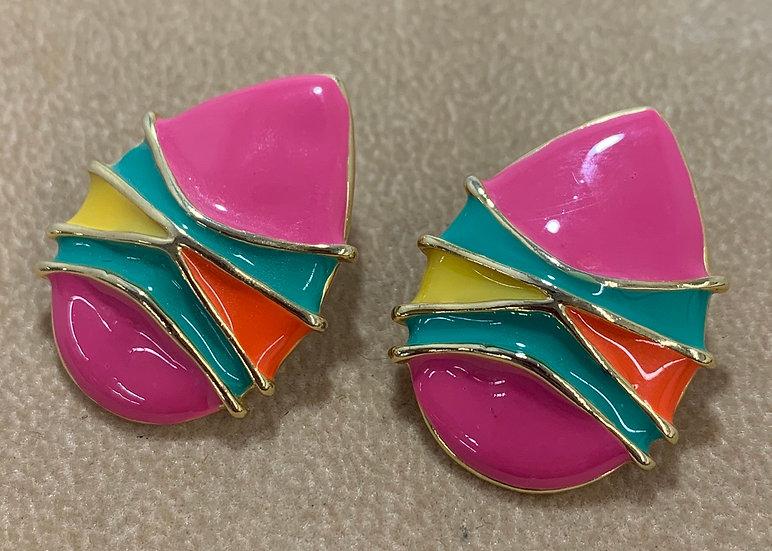 Vintage Multi-color Enamel Gold Tone Earrings