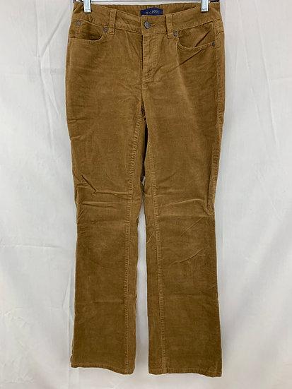 Talbots Women sz  2 Earth Brown Corduroy 5 Pocket Pant Cotton Stretch Jeans
