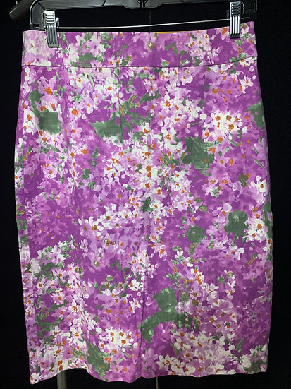 J Crew Women's size 2 Straight Pencil Skirt Purple White Floral Print Li