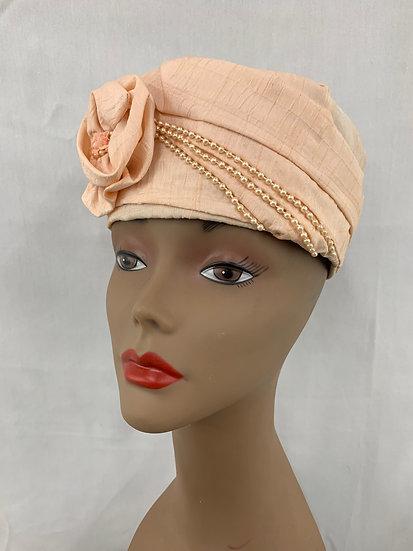 Vintage Peach Beaded Pill Box Hat