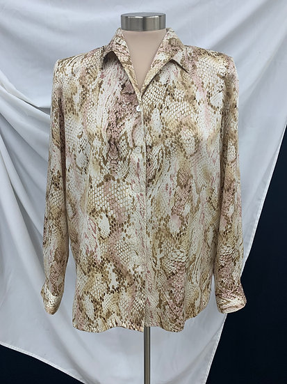 Alfred Dunner 100% Polyester Snake Skin Print L/S Shirt Size 8
