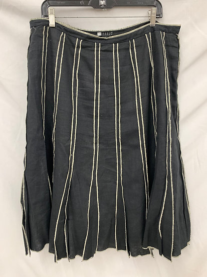 Carole Little size 16 Black & White Flair Stripe Linen Skirt