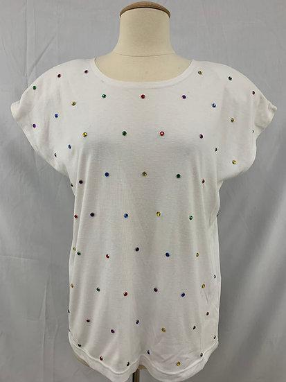 Alfred Dunner Women's size S White Studded Pullover  Short Sleeve Shirt Blouse