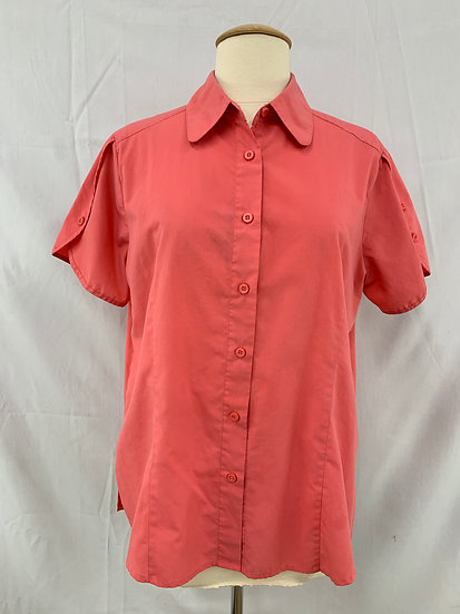 American Sweetheart Women's size M Button Down Shirt Blouse Coral Short Sleeve