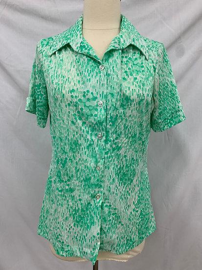 Alfred Dunner Women's Size 14  Green Whiter Button Down Short Sleeve Shirt Semi