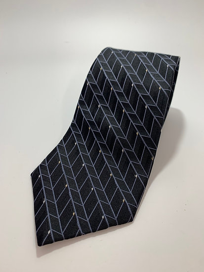 "Perry Ellis Portfolio 100% Silk Black Geometric Tie 60"""